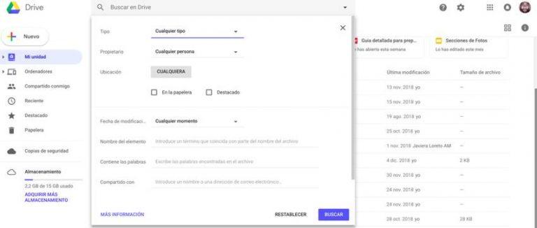 filtrar busquedas en google drive Dani Guitarra